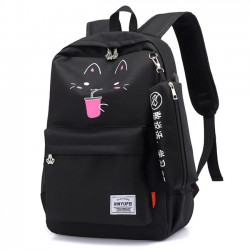 Fresh Cartoon Cat New York Bear Print USB Waterproof Large Student Bag School Backpack