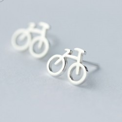 Fashion Mini Bike Hollow Bicycle Lady Silver Earring Studs