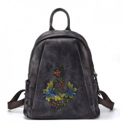 Retro Dragonfly Branches Flowers Handmade Original Leather Travel Backpack