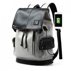 Fashion Gray USB Port Large Capacity Vertical Zipper PU Men's School Bag Computer Backpack