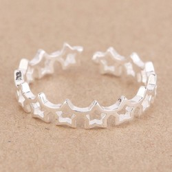 Cute Hollow Star Women 925 Silver Open Ring