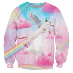 New Unique Pink Clouds Rainbow Printing Sweatshirts