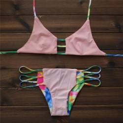 Pink and Camouflage Sexy Bikinis Set Bandage Swimwear Beach Bathing Suit