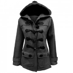 Women's Fall Winter Long-style Horn Button Wool Hooded Silm Coat Trench Coat