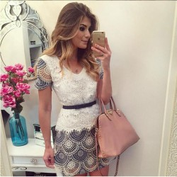 Sweet Short Sleeve Round-Neck Hollowed-Out Lace Dress