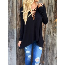 New Spring V-neck With Cross Lace Up Hoodie T-shirt