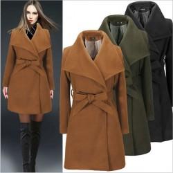 Minimalist Style Waist Strap Pure Color Wool Coat Winter Coat Windbreaker