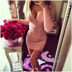 Fashion Zip Front Slim Long Sleeve Bodycon Dress