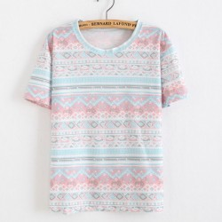 Snowflakes and Floral Printed Cotton T-Shirt In Folk