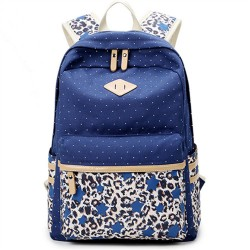 New College Style Leopard  Stitching Wave Point Printed Canvas Casual Backpack Schoolbag