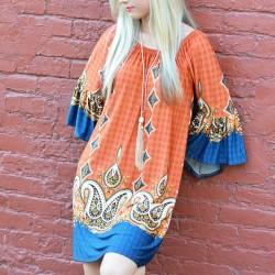Summer Round Neck Folk Printing Long Sleeves Beach Dress Skirt