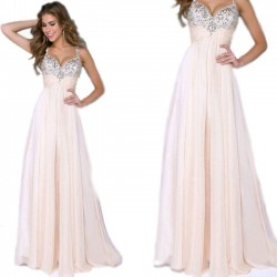 Fashion Maxi Prom Dress Ruffles Chiffon Braces Girl's Sequins Sparkly Evening Dresses