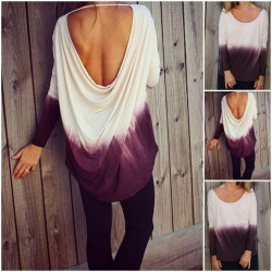 Gradient Hanging Halter Long-sleeved T-shirt For Women