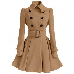 Fashion Women's Fall Winter Middle Style Double-breasted Standing Collar Pleated Skirt Silm Woolen Overcoat