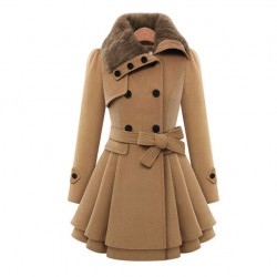 Women 's Woolen Coat Double - Breasted Thicker Coat Windbreaker Winter Dress