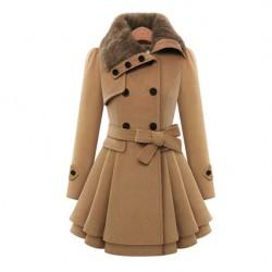 Women 's Woolen Coat Double - Breasted Thicker Coat Windbreaker Winter Dress