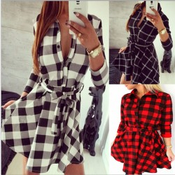 Women's Dress Shirt With Lattice Bodycon Dress Tops Three Quarter Sleeve