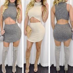 Women's High Collar Irregular Sleeveless Package Buttocks Two-piece Dress