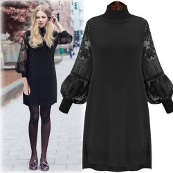 Unique High Collar Large Size Lace Dress Stitching Bishop Sleeved Backing Skirt