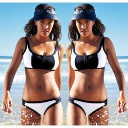 Triangle Sexy Crop Top Bikinis Set zipper Swimwear Beach Bathing Suit