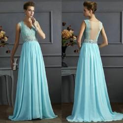 Elegant Prom Gowns Long Maxi Dress Women's Blue Mesh A-line V-neck Sequins Backless Ruffles Chiffon Formal Evening Dresses