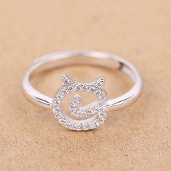 Cute Kitty Face Silver Small Zircon Kitten Open Ring