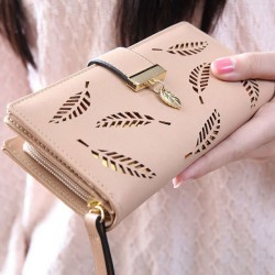 Unique PU Leaves Hollowed-out Rectangle Purse Card Bag Girl's Wallet Clutch Bag