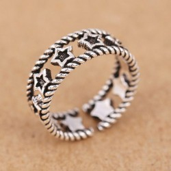 Retro Silver Hollow Accessory Women Rings Star Open Ring