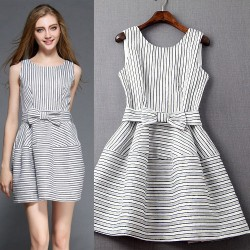 Sweet Lady Sleeveless O-neck Bow Striped Ball Gown Dress