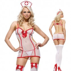 Sexy Uniform Temptation Costume Nurse Cosplay See Through Lady Lingerie