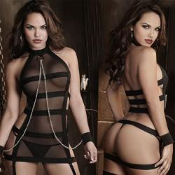 Sexy Stripe Cosplay Prisoner Women Perspective Lingerie