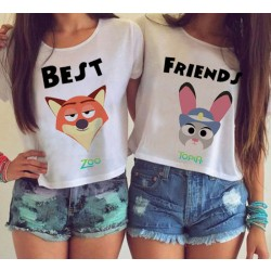 Cartoon Best Friends Printing Paragraph Short T-shirt