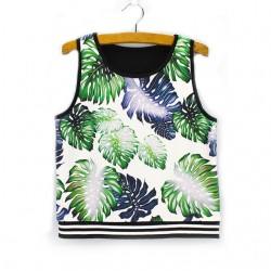 Fashion Leaf Print Sleeveless T-shirt Women's Summer Vest
