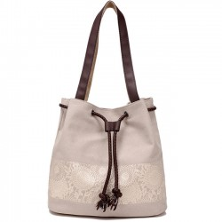 Folk Flowers Printing Draw String Shoulder Bag Shopping Girl's Canvas Handbag