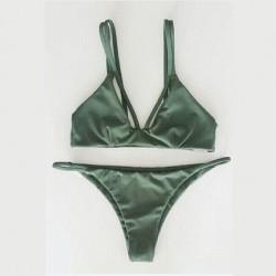 Dark Green and Weave Bikini Sexy Bandage Halter Swimsuit