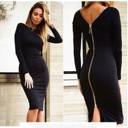 Fashion Sexy Slim Halter Zipper Dress