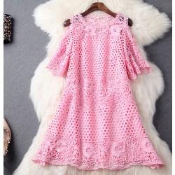 Handmade Beading Crochet Lace Strapless Dress Party Dress