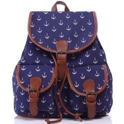 Leisure Navy Blue Anchor Rucksack Girl College Canvas Schoolbag Backpack