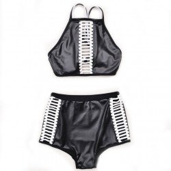 Fashion Black Low-waist Bandage Bikini Set Swimsuit Swimwear Bathingsuit