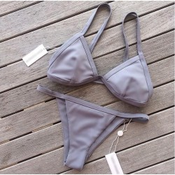 Sexy Leaf Print Split  Bikini Swimsuit Cross Straps Swimwear Bathingsuit