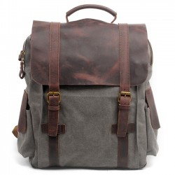 Retro Handmade Outdoor Large Rucksack Cowhide Leather Splicing Thick Canvas School Backpack