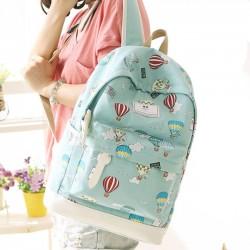 Cartoon Cute Hot Air Balloon Printing Girl's Canvas Junior High School Backpack