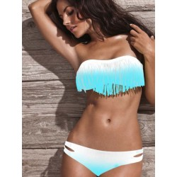 Hot Sexy Gradient Tassel Bikinis Swimsuit