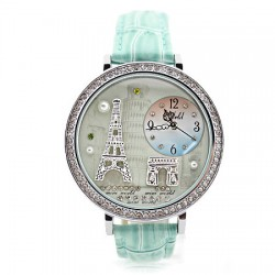 Romantic Eiffel Tower rhinestone trim Watch