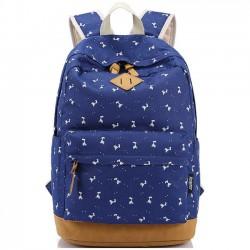 Leisure Elk Printing Canvas Rucksack Fawn Girl Deer School Backpacks