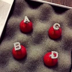 Creative Red Pearl Alphabet Diamond Silver Earrings Studs