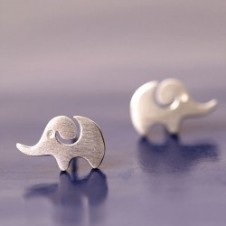 Lovely Creative Elephant Silver Animal Earring Studs