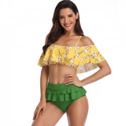 Sexy Ruffle Sling Summer Swimsuit Flower Leaves High Waist Bikinis