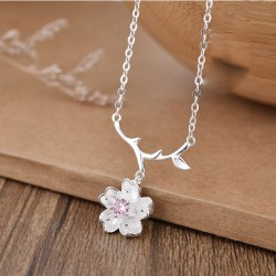 Sweet Branch Leaf Flower Cherry Pendant Silver Necklace