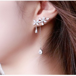 Leisure Drop Girl Tassel Silver Fringed Flower Zircon Earrings Studs